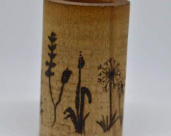 wooden flower candle holder