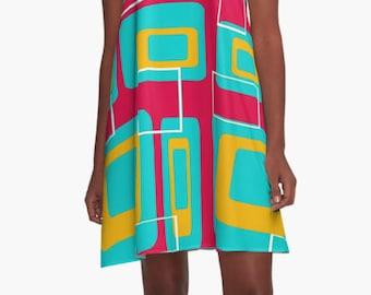 Summer Dress, Womens Gift, Dress, Red Dress, Party Dress, Retro Dress, XL Dress, Retro, Mini Dress, Mod Dress, Casual Dress