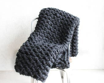 Black Chunky Knit Blanket