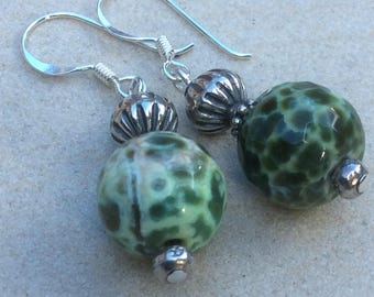 Agate Earrings Green agate faceted earrings with silver.