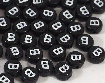 100 black letter beads *B*, alphabet beads, 7mm