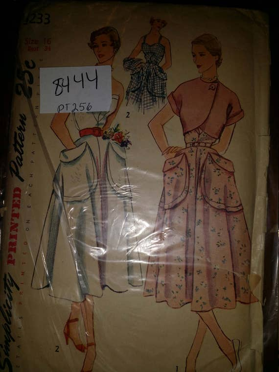 Simplicity 3233; ©1950; Misses' One-Piece Sun Dress and Bolero sz 16 , Bust 34