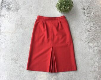 Vintage Lipstick Red Pleated Pocket Skirt
