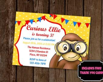 Curious George Invitation, Curious George Birthday Invite, Printable Invitation, Monkey Birthday Invitation