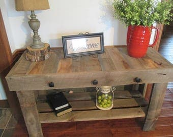 Old Rustic Oak Wood Sofa/Entry Table.  This table is loaded with character and charm.