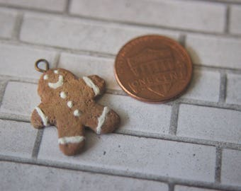 Gingerbread Charm Pendant Handmade Clay Christmas Cookie Frosting Necklace Brown