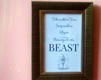 Beauty and the beast Disney Framed Art, beautiful song digitally printed including woven metallic frame