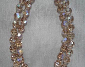 Clear Opalescent Crystal Costume Necklace