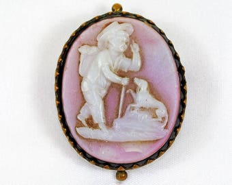 Antique Glass Cameo Brooch
