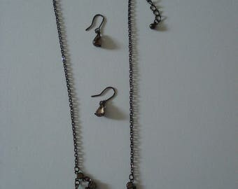 Grey crystal necklace and drop earrings