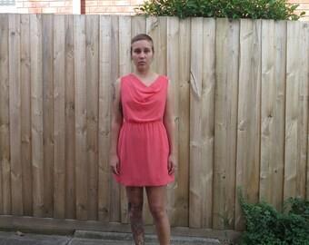 Salmon pink cowl neck short party dress