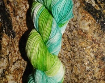 """Hand dyed 100% Merino wool sport weight """"Ocean Grass"""" 50g mini-skein"""