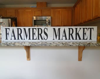 Farmers Market Wooden Word Sign, Industrial Sign, Fixer Upper Signs, Vintage Sign, Market Sign, Farmhouse Decor, Farmhouse Art