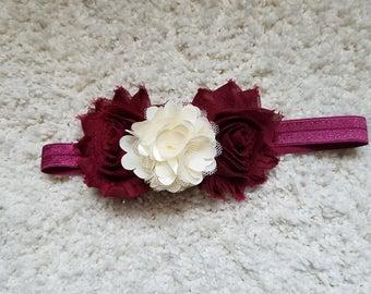 Maroon and white flower headband