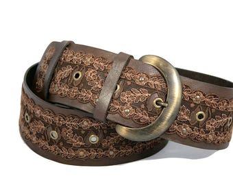 Brown leather womens belt Hip belt Wide belt Lace belt Plus size belt
