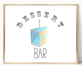 Dessert Bar Party 8x10 Printable, Instant Download, Birthday Cake, Dessert Poster, Dessert Party Sign, Dessert Cake Decor, Dessert Kitchen