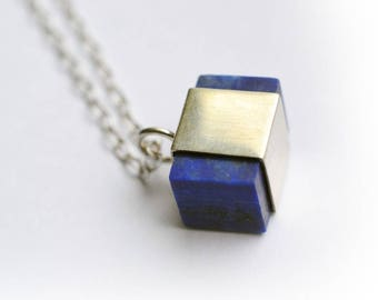 Lapis Necklace, 925 Sterling Silver and Lapis Pendant, Lapis Necklace, Gold plated Pendant, Gold plated and Lapis Necklace
