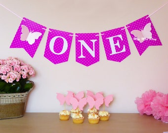 ONE banner, bunting, butterfly themed birthday party decor, photo prop, purple, pink