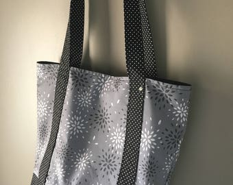 Flowers and polka dot tote bag