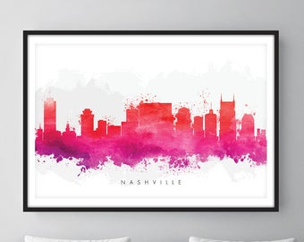 Nashville Skyline, Nashville Tennessee  Cityscape Art Print, Wall Art, Watercolor, Watercolour Art Decor