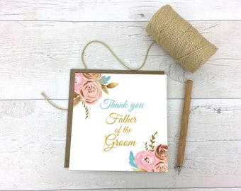 Thank you Father of the Groom- Thanks  Father of the Groom- Bridesmaid Card - Thank you card - Thank you wedding card- Wedding Stationery