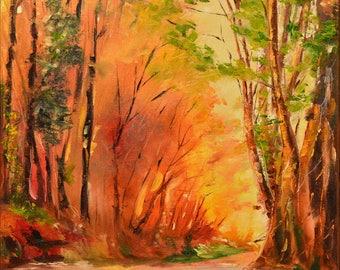 Original painting, Oil canvas, Landscape forest painting, ArtWork Autumn, Red trees, Modern Fine Art Oil Painting 40x40cm,
