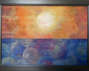 Framed Sunset picture - painted circles on fabric