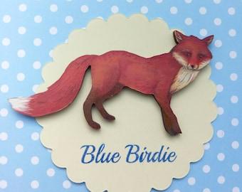 Fox brooch fox jewelry fox badge wooden fox brooch fox jewellery vintage look fox jewelry fox gift