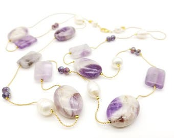 "40"" Rainbow fluorite, Amethyst, Fresh Water Pearls, and Crystal Necklace"