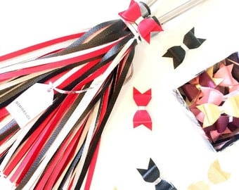 Red, Black and White Bike Tassels, Streamers - Bingelci - Bike Accessories for Handbar + Bow for FREE!!