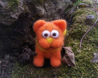 Cat wool orange cute toy gift for her handmade animal