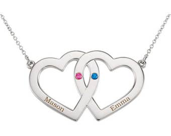 Valentines day. Two hearts necklace. Interlocking hearts necklace. Two hearts with birthstones and names necklace. Personalized. Engravable