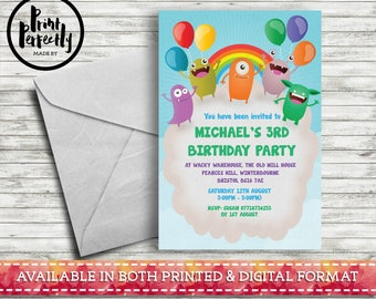 Girls and Boys Monster Balloon Cloud  - Luxury Childrens Customised Birthday Party Invitations (Printed & Digital)
