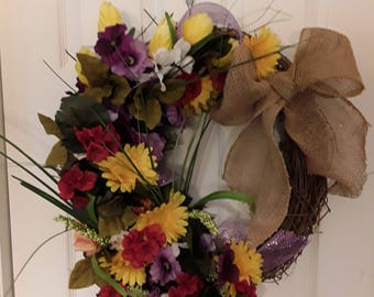 18 inch grapevine wreath with various yellow red and purple flowers beautiful summer or fall