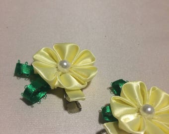 hair pin, barrette, hair accessories, yellow hair pin with a flower, little girl photography, hair clips,mothers day,hair bow