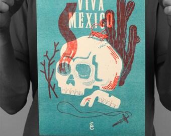 "Post skull ""Viva Mexico"" / poster / Edwood / Risographie / A4 / 21 x 29,7 cm"