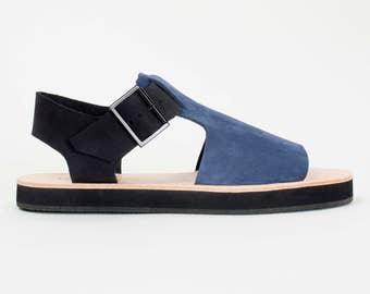 BRIO navy + black nubuck sandal