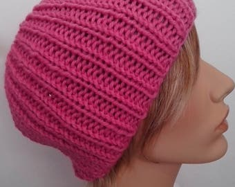 Knit wool beanie, woman beanie,  pink, gift for her, handmade, ready to ship, free shipping