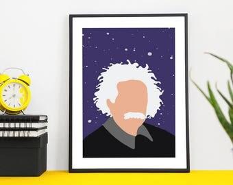 Albert Einstein Print | illustration | design | poster | modern | minimal | digital | art | icon | hero | portrait