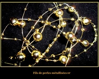 Garland of pearls 5 meters DECO wedding gold