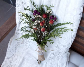 Rose Bouquet: Dried Flower | Dry Flower | Dried Flower Arrange | Rustic Wedding | Home Decor | Vase Filler