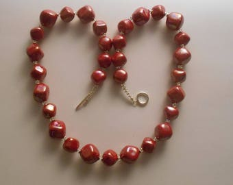 African Kazuri fair trade hand made ceramic bead necklace, red pearlised beads