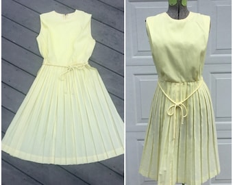 60's Vintage Yellow Pleated Midi Dress, Small