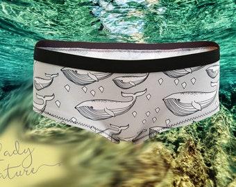 Organic Cotton Jersey - Whale Print- ORGANICKERS -Underwear, Knickers, Panties - Handmade in UK  England