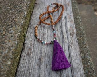 aquamarine and purple/green fluorite 108 bead mala necklace with sandalwood and rudraksha