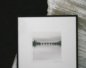 St. Charles Bridge in Mist | Black and White Silver Gelatin Darkroom Print | Limited Edition 17/45