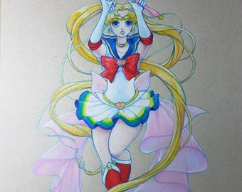 DONATE TO CHARITY - Super Sailor Moon - Original Prismacolor Pencil Artwork