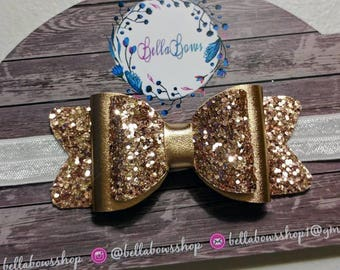 3 1/2 in. Gold double loop hair bow