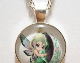 Tea Cup Fairy Glass Cabochon Pendant Necklace SC526