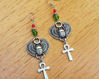 egyptian scarab earrings beetle cross ankh silver ancient egypt wiccapagan occult gothic boho